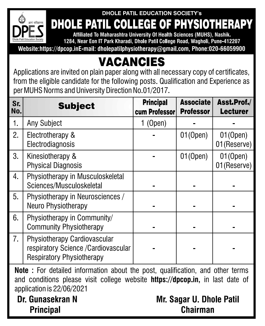 Advertisement for staff selection